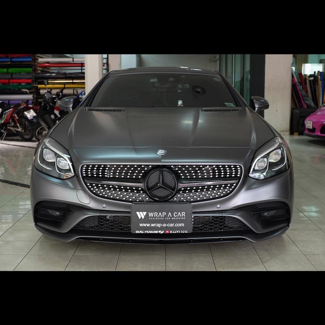 Benz Slc Satin Dark Grey Mercedes Benz Slc Amg Wrapacar