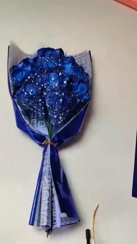 DIY Blue Ribbon Roses