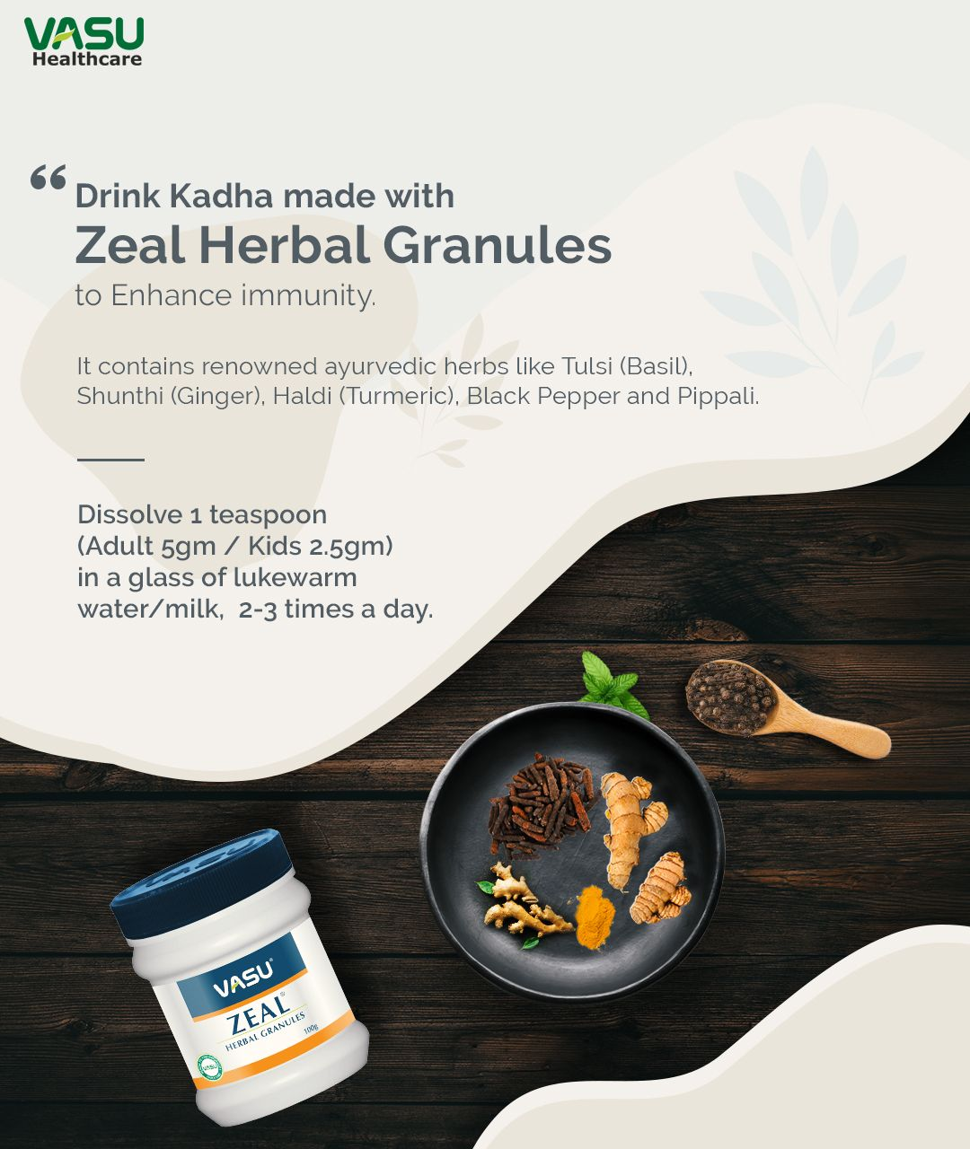 Drink Kadha made with Zeal Herbal Granules to Enhance