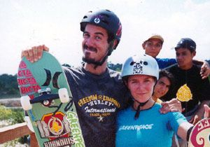 Xgames skateboard champion Bob Burnquist wife Jennifer show their support for Greenpeace's forests campaign
