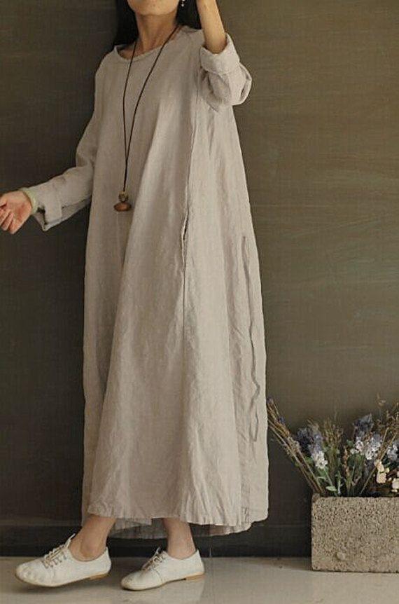 796671b4e8 Light grey Linen cotton flax long sleeve loose dress