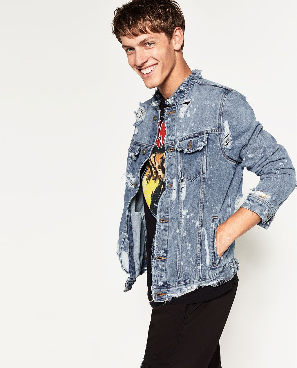 5c54563d44 DENIM JACKET-RIPPED COLLECTION-MAN | ZARA United States | Nail The ...