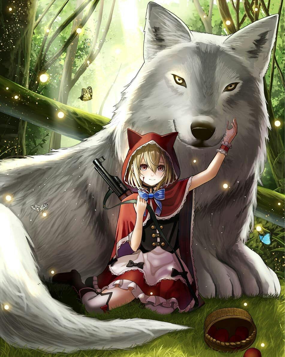Картинка аниме девочки волка