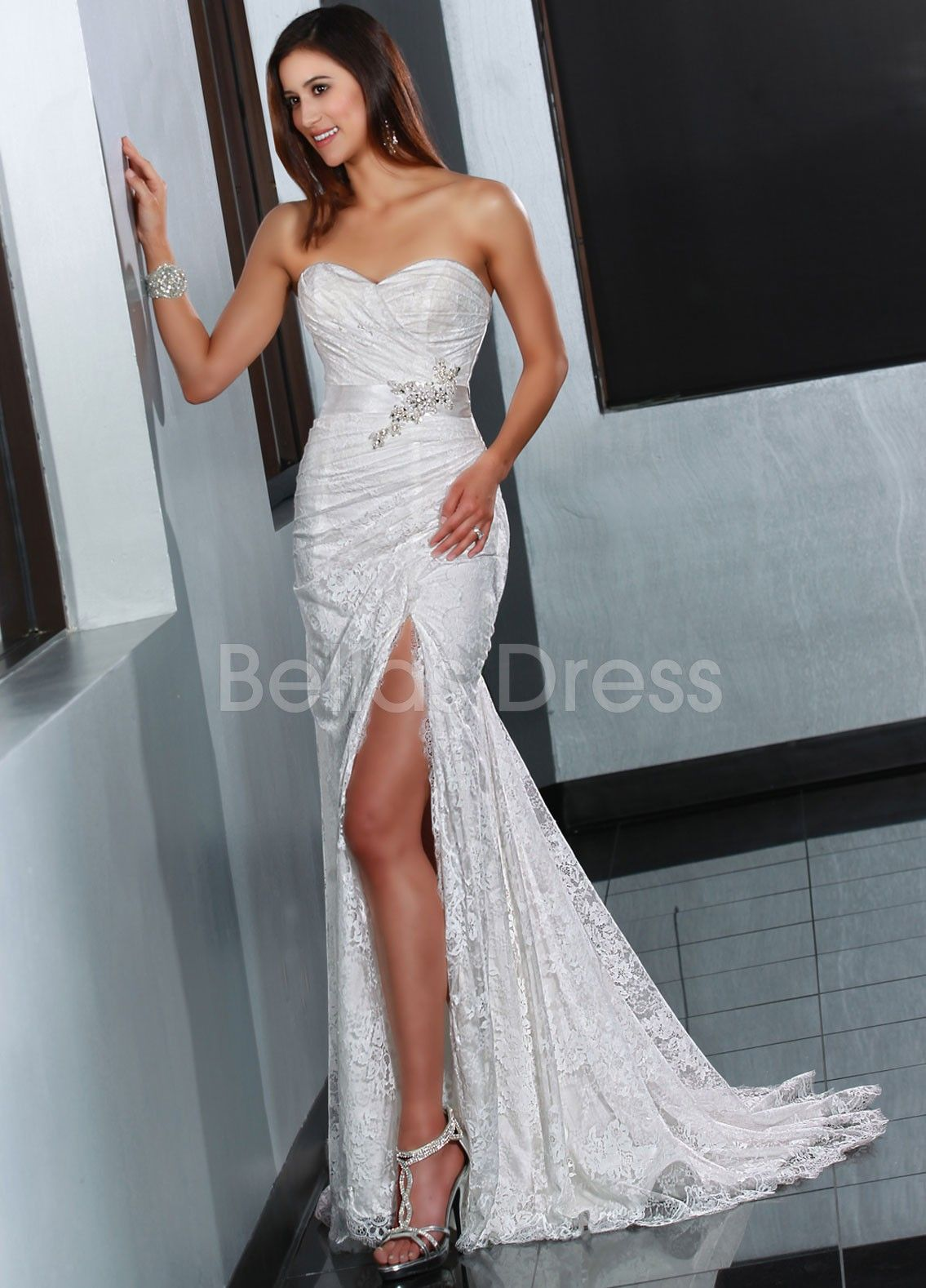 Sweetheart Sheath/ Column Sweep/ Brush Train With Side Slit Lace ...