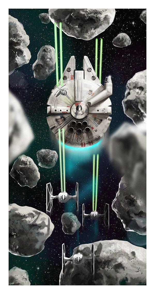 Millennium Falcon Vs Tie Fighters Star Wars Andy Fairhurst Star Wars Art Star Wars Prints Star Wars Poster