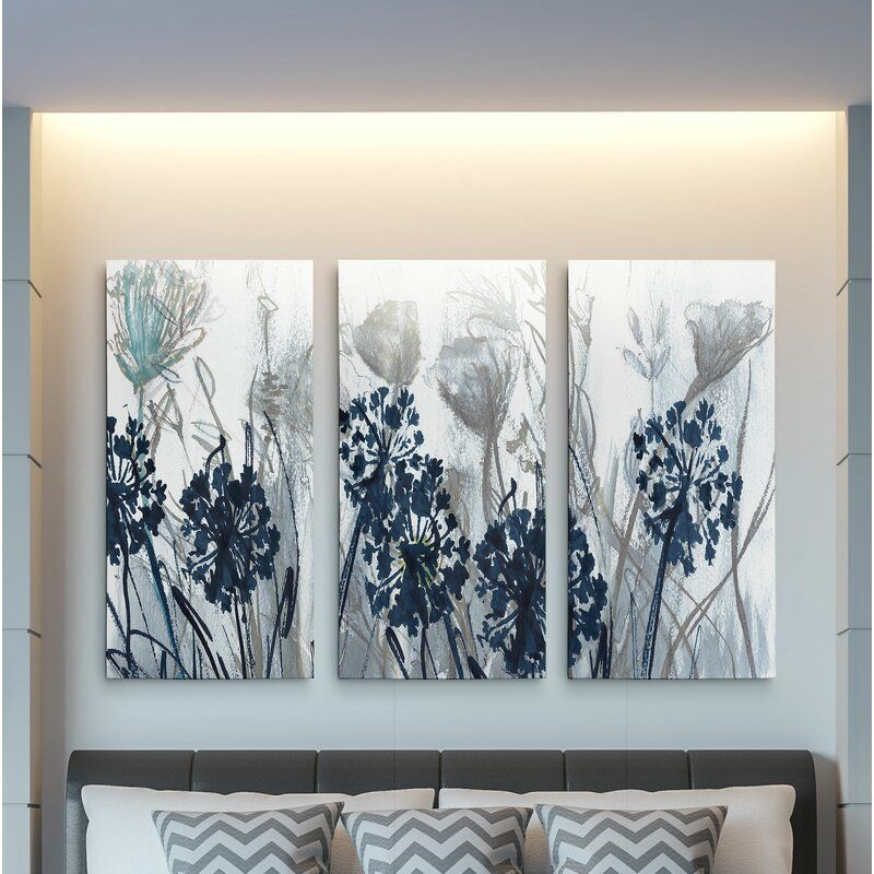 Winston Porter A Premium Indigo Field Multi Piece Image On Canvas Wayfair Large Canvas Wall Art 3 Piece Canvas Art Canvas Wall Art
