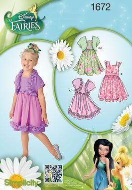 Simplicity Disney Fairies Collection Children's Dress and Bolero Pattern 1672