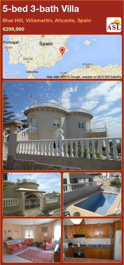 5-bed 3-bath Villa in Blue Hill, Villamartin, Alicante, Spain ►€299,990 #PropertyForSaleInSpain