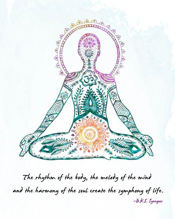 Yoga Art Lotus Pose 8x10 Metallic Print Iyengar Quote On Etsy 20 00 Yoga Art Lotus Pose Yoga Inspiration