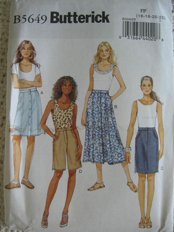Butterick  Misses Womens Semi Fitted Skirt and Shorts by Vntgfindz