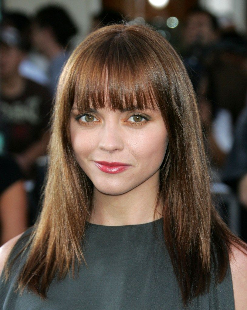 Best Round Face Bangs Haircuts For 2018-Round Face Bangs   Medium hair styles, Long layered ...