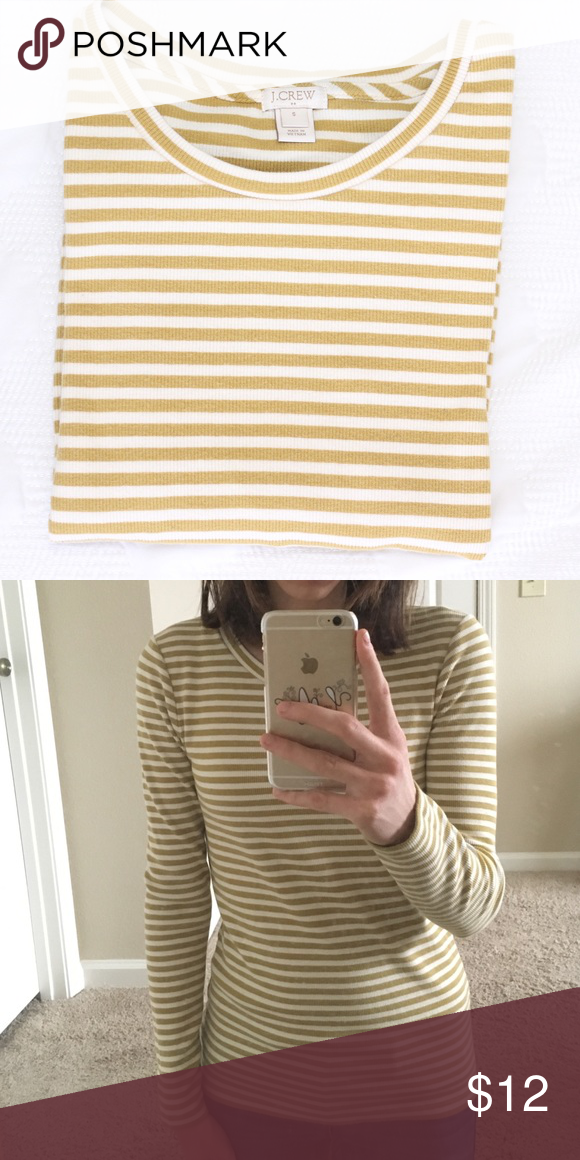 J. CREW Mustard & Cream Shirt SZ Small - fits true to size. Ribbed material makes this more of a form fit. EUC - only worn a handful of times (less than five). J. Crew Tops Tees - Long Sleeve
