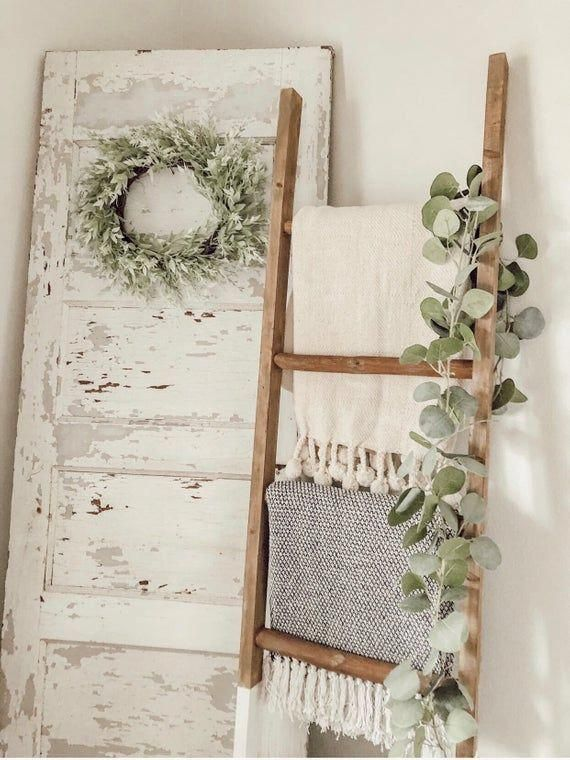 Photo of 6 FT White dipped blanket ladder | Country Bedroom Accessories | Vintage Bedroom…
