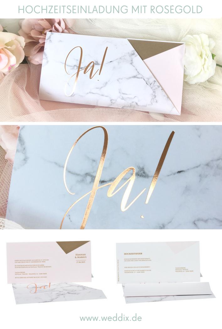 Einladungskarte Hochzeit Lisette Rosa Rosegold Marmor Muster Im