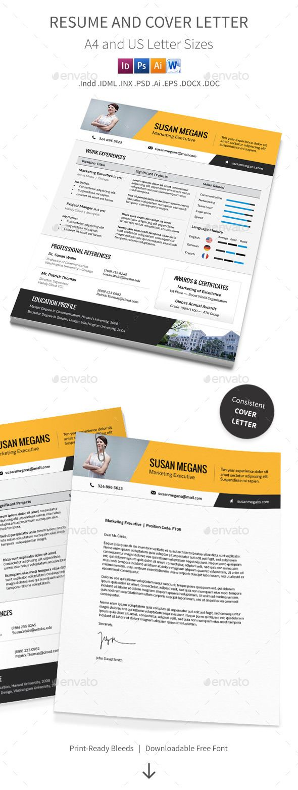 Resume and Cover Letter – A4 and Us Letter Sizes by Mike