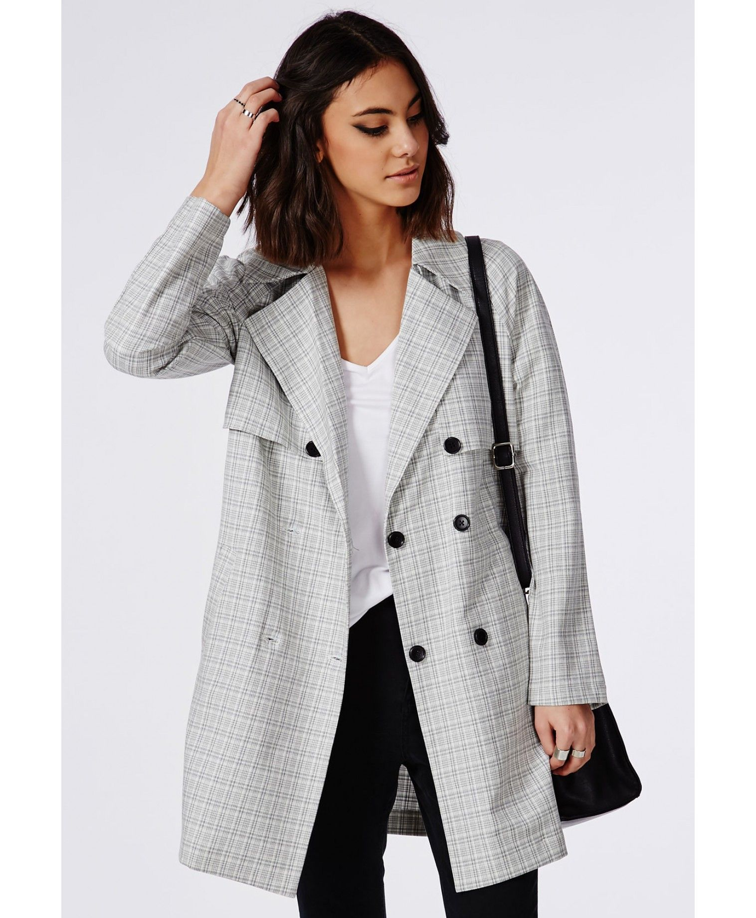 enjoy discount price choose newest complimentary shipping Check Buttoned Trench Coat Grey - Coats & Jackets ...