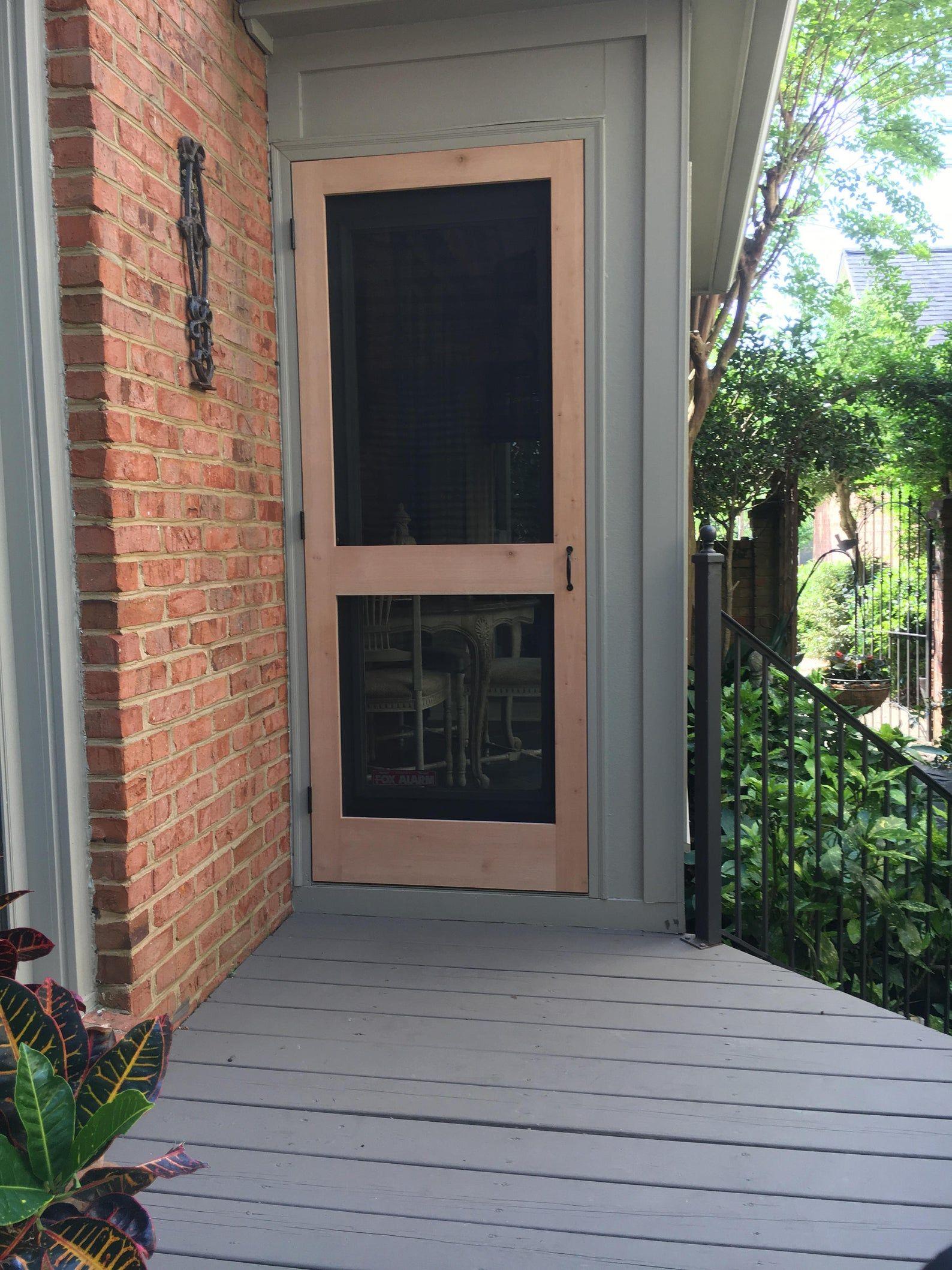 Hand made solid wood screen door guaranteed to not sag