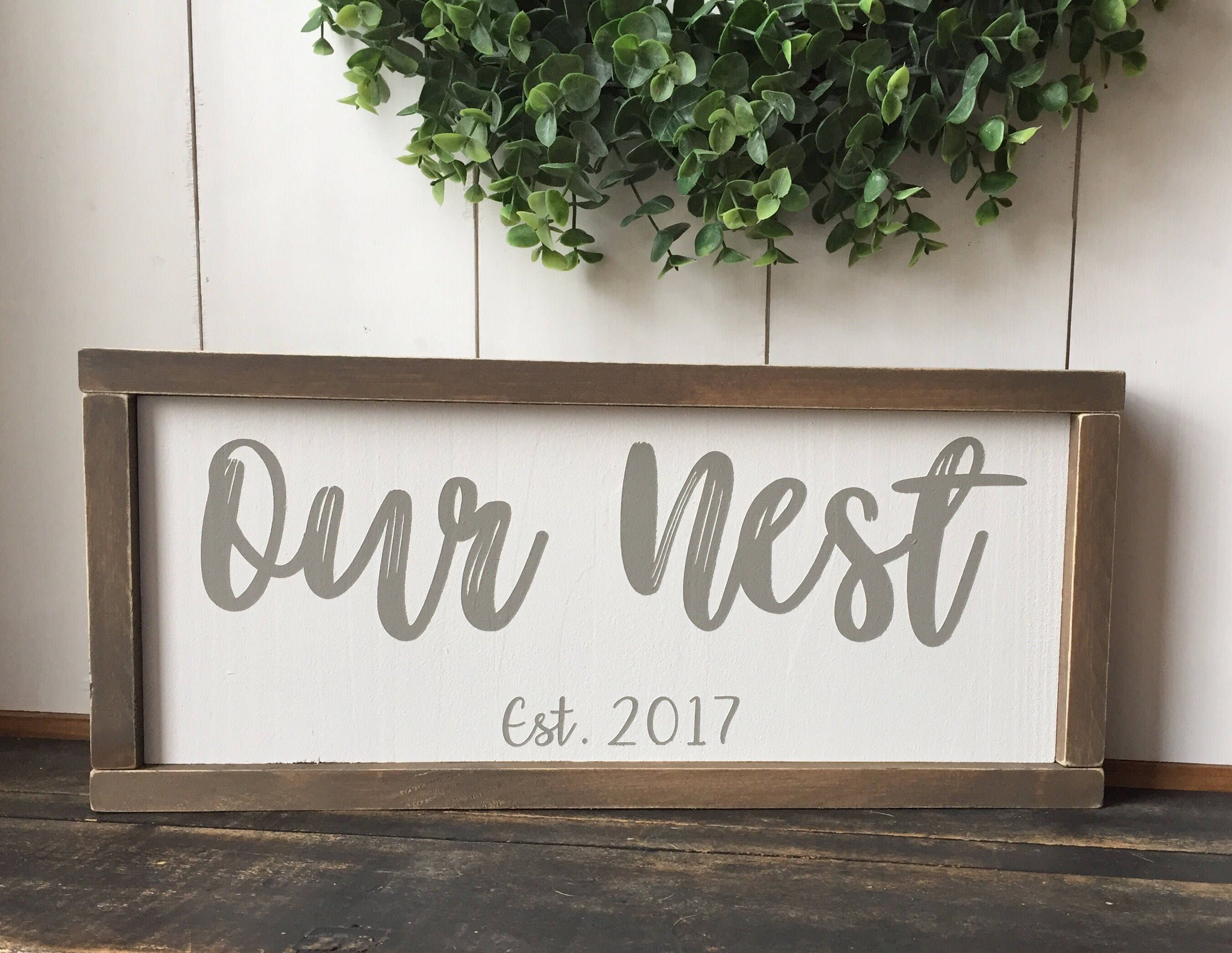 aee6ab9a29197 Our Nest Sign, Established Sign, Personalized Wood Signs, Wood Signs ...