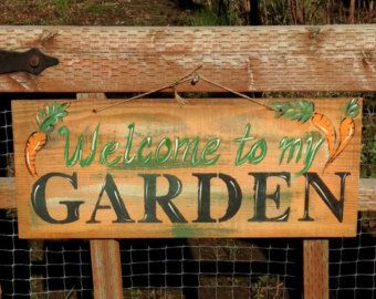 Original Hand Painted Welcome to my Garden Sign on Vintage Board