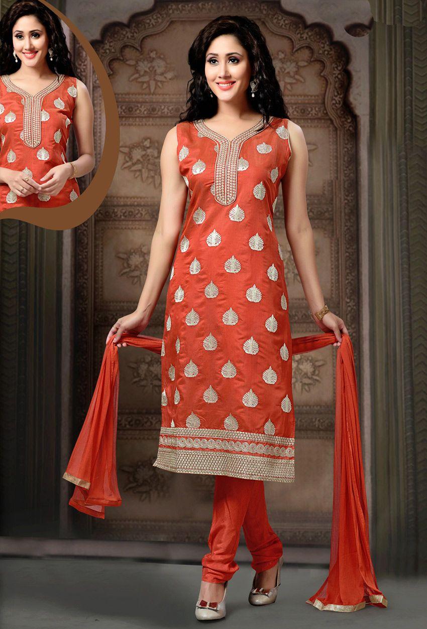 Readymade orange art silk straight cut suit nikvik usa