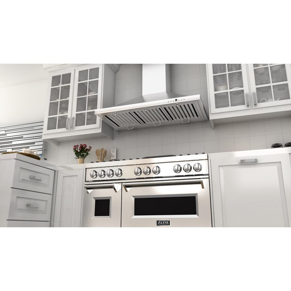 Zline Kitchen And Bath Zline 48 In Stainless Steel 6 0 Cu Ft 7 Gas Burner Electric Oven Range Ra48 T Wall Mount Range Hood Range Hood Kitchen Installation