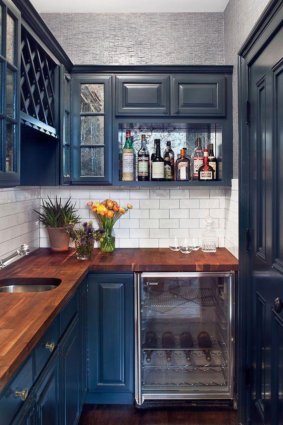 Chic Dark Blue Touch Kitchen Design Kitchen Interior Kitchen Design Kitchen Remodel
