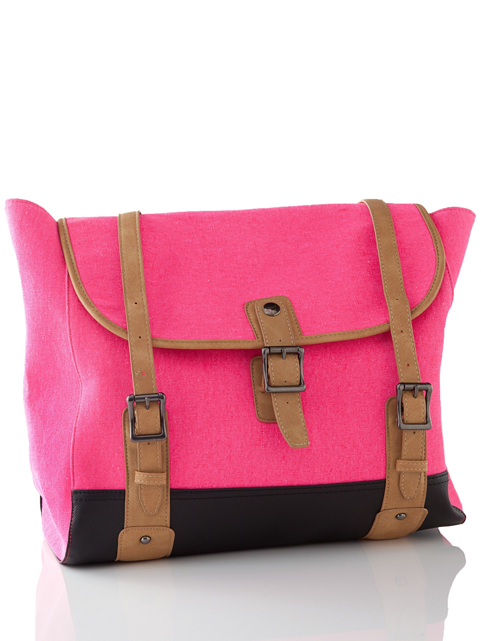 Get carried away with this bright pink handbag, you ll never want to put it  down! - Canvas with faux leather trim - Buckle closure - Three interior  pockets ... b9fd3906c2