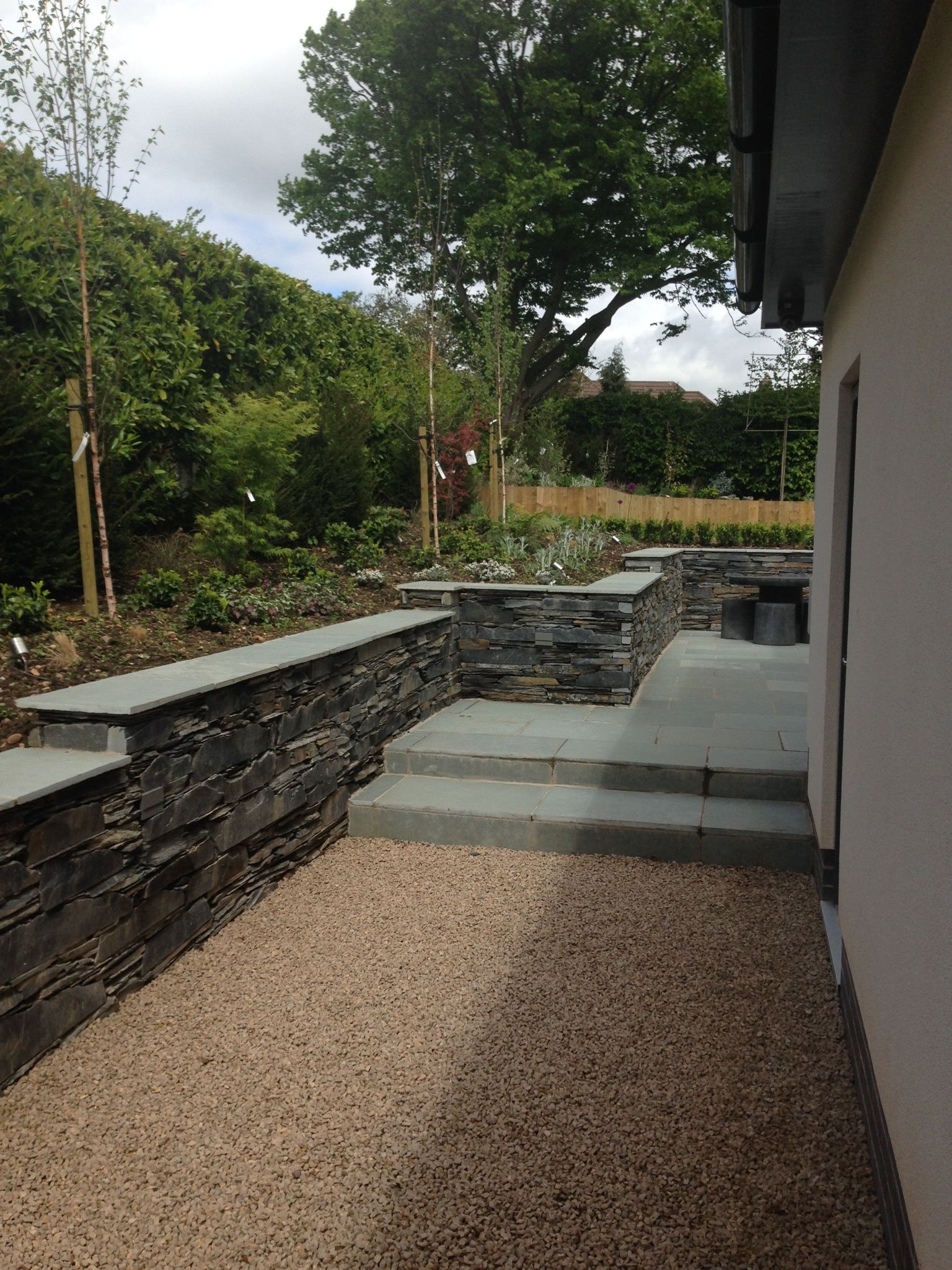 Contemporary Garden Design, Slate Drystone Wall, Limestone Paving, Breedon