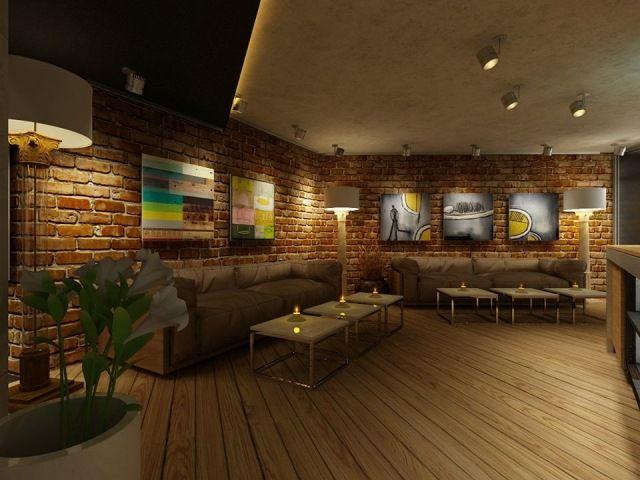 Champagne Room Art Club kapitanov holzboden ziegelwand | ambiente ...