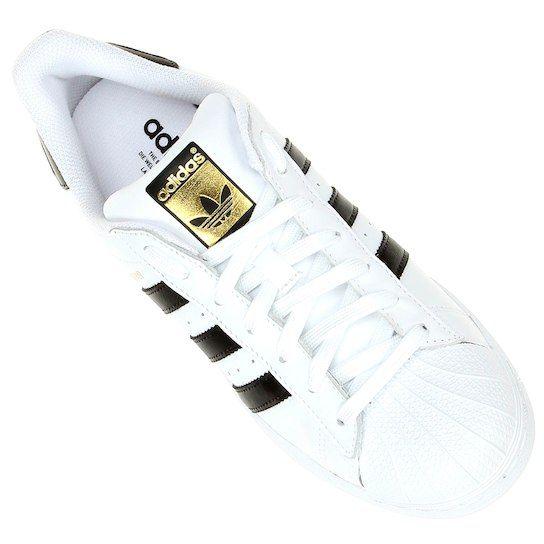0dc893163 Tênis Couro Adidas Superstar Foundation Masculino - Branco e Preto ...