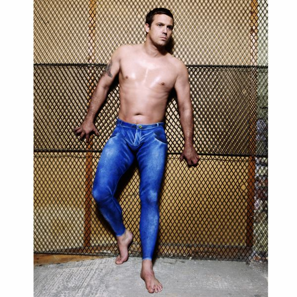 Male model with body painted blue jeans | 50 Shades of ...