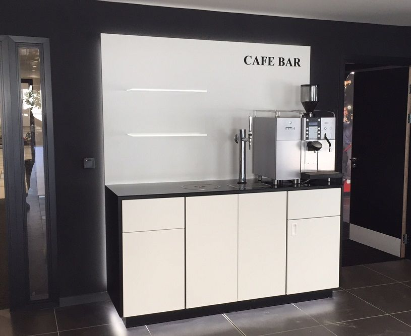 Amazing White And Black Coffee Point With Glass Worktop And LED Illuminated Plinth  And Rear Back Panel