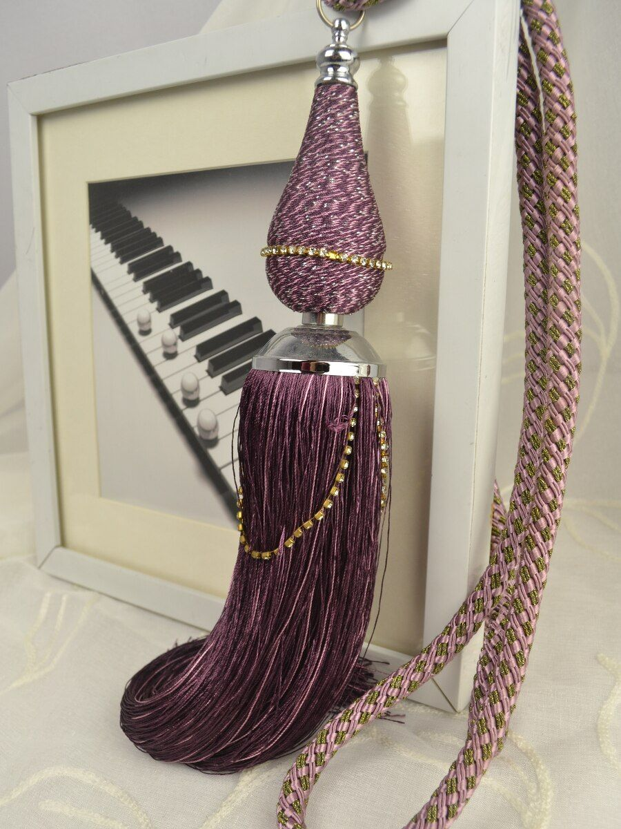 6 Colors QYM24 Polyester Curtain Tassel Tie Backs In Purple Color