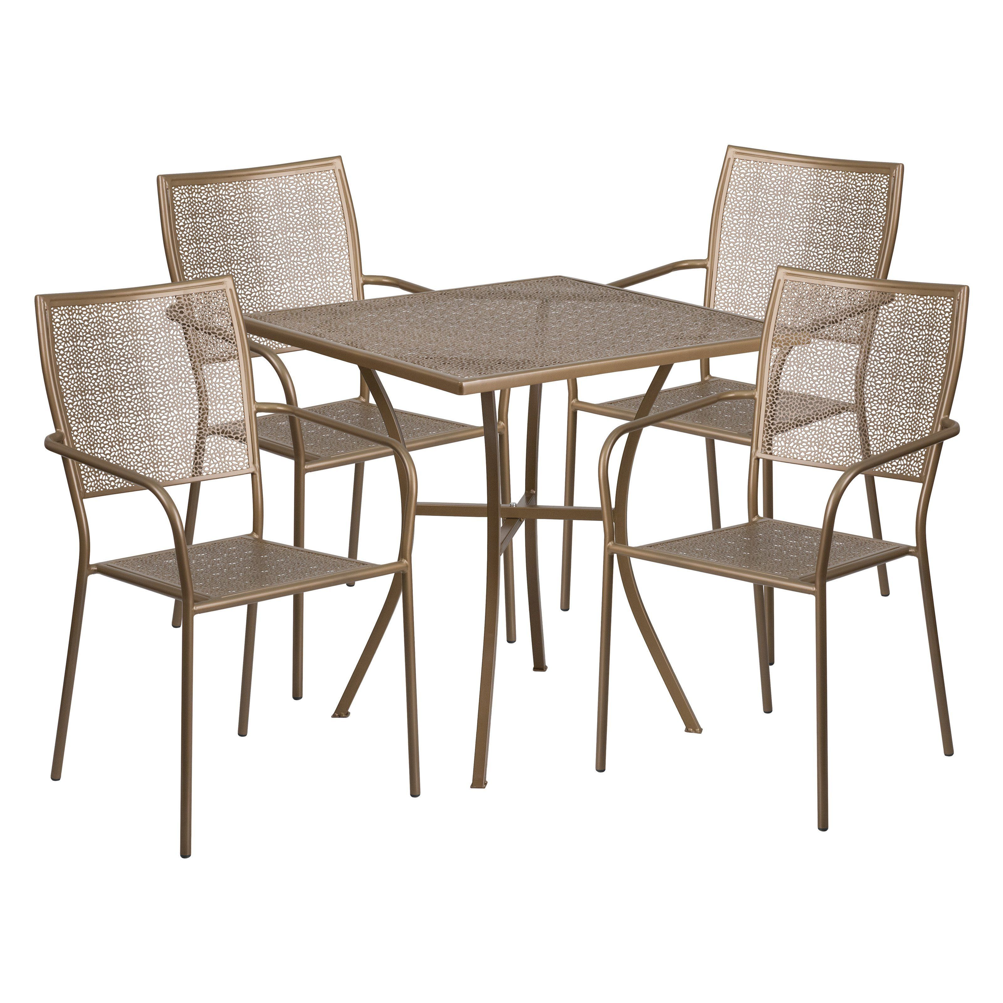 Outdoor Flash Furniture Steel Square Patio Dining Set Co 28sq