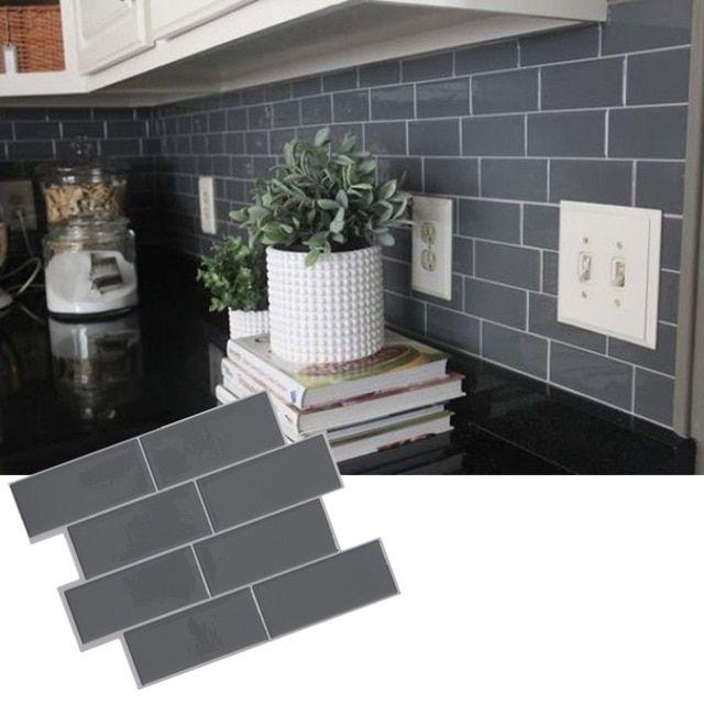 Grey Brick Subway Tile Peel And Stick Self Adhesive Wall Decal Sticker Diy Kitchen Bath Self Adhesive Wall Tiles Removable Wallpaper Kitchen Wall Stickers Home