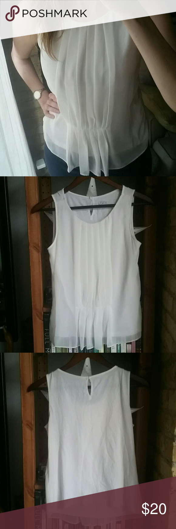Pleated front tank top Very classy top with a sheer layer with pleats on the front. Great for going out or under a blazer for work! Perfect condition!  Make an offer! :) LOFT Tops Tank Tops