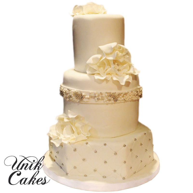 White and silver pearls wedding cake. | Wedding Cakes | Pinterest ...