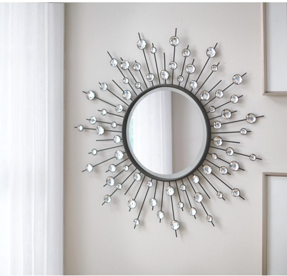 Diamond Wall Mirror Silver Glass Sunburst Home Decor Sun Star Modern Metal 32 Home Garden Home Decor Sunburst Mirror Silver Sunburst Mirror Diamond Mirror