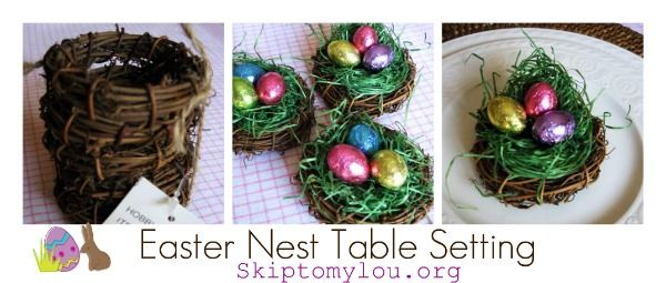 Easter Table Settings | Easter grass Easter candy or item small grapevine wreaths Plates ...