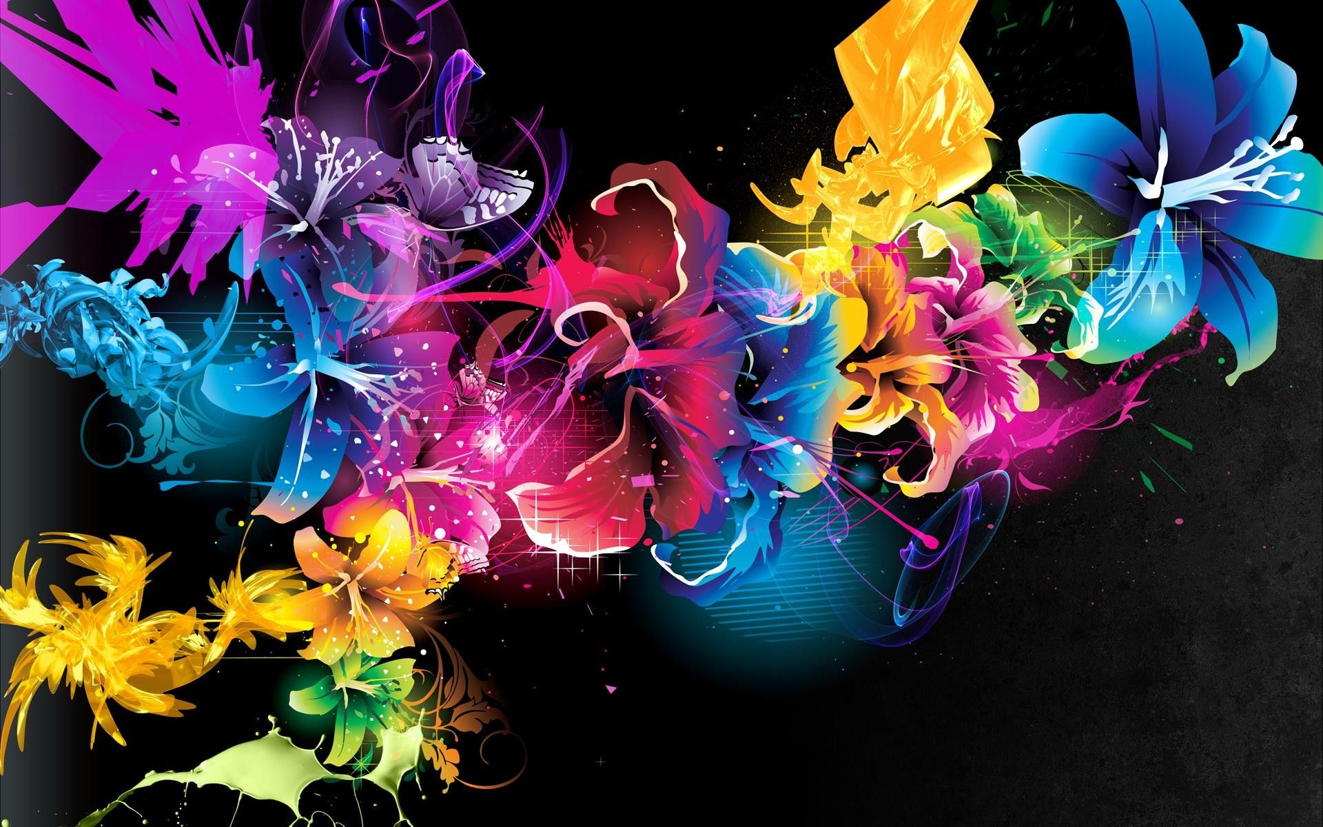 Colorful Flowers Pattern Black Background 1920x1200 Flower Wallpaper Cross Paintings Abstract Flowers