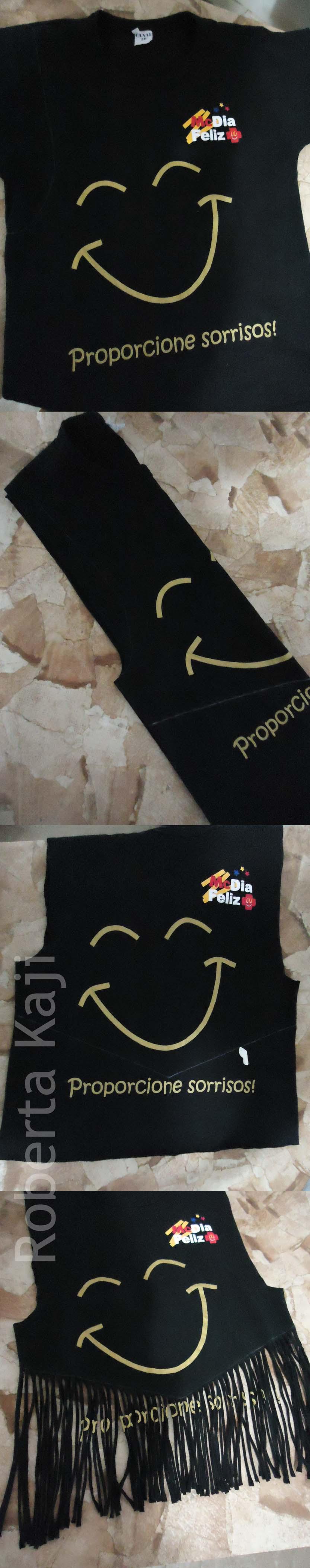 Customização de camiseta de campanha (franjas).
