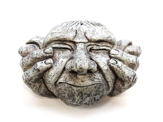 3pc Set Of Hear Speak See No Evil Stone Effect Resin Face Wall Patio Plaques Hanging Garden Door Fence Home Outdoor Decoration Ornaments In 2020 Hanging Garden Resin Face Garden Doors