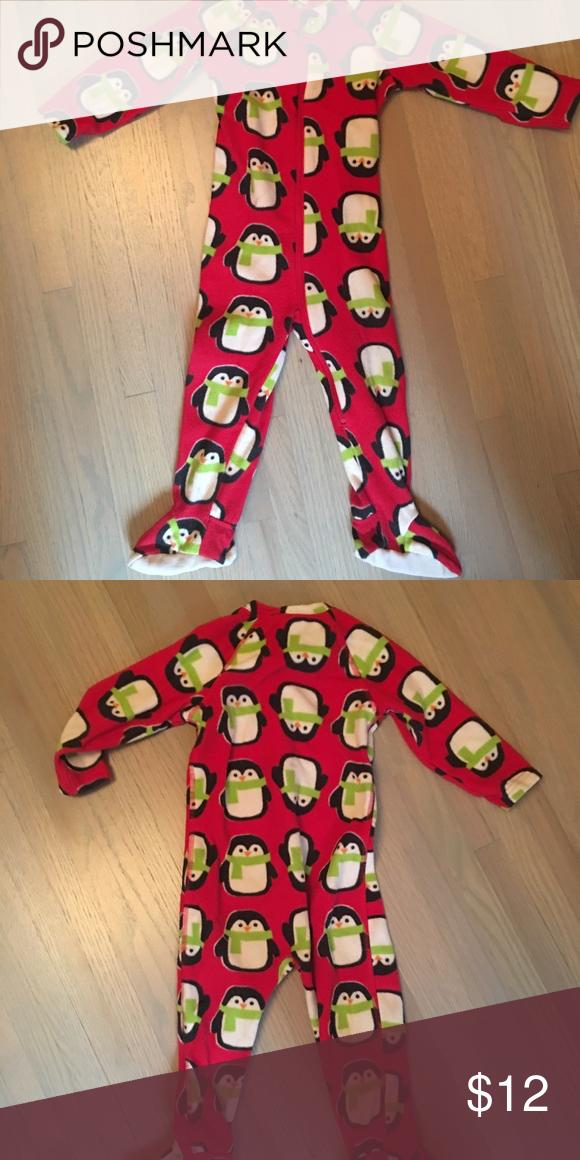 2117ac4067a7 Fleece footed pajamas Adorable fleece footed penguin jammies. Good ...