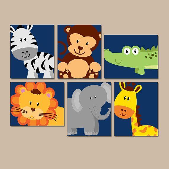 Animales de la selva de la pared arte, lienzo o grabados, chico chica vivero arte, animales del parque zoológico Safari, cebra mono elefante león, sala de juegos decoración, Set de 6