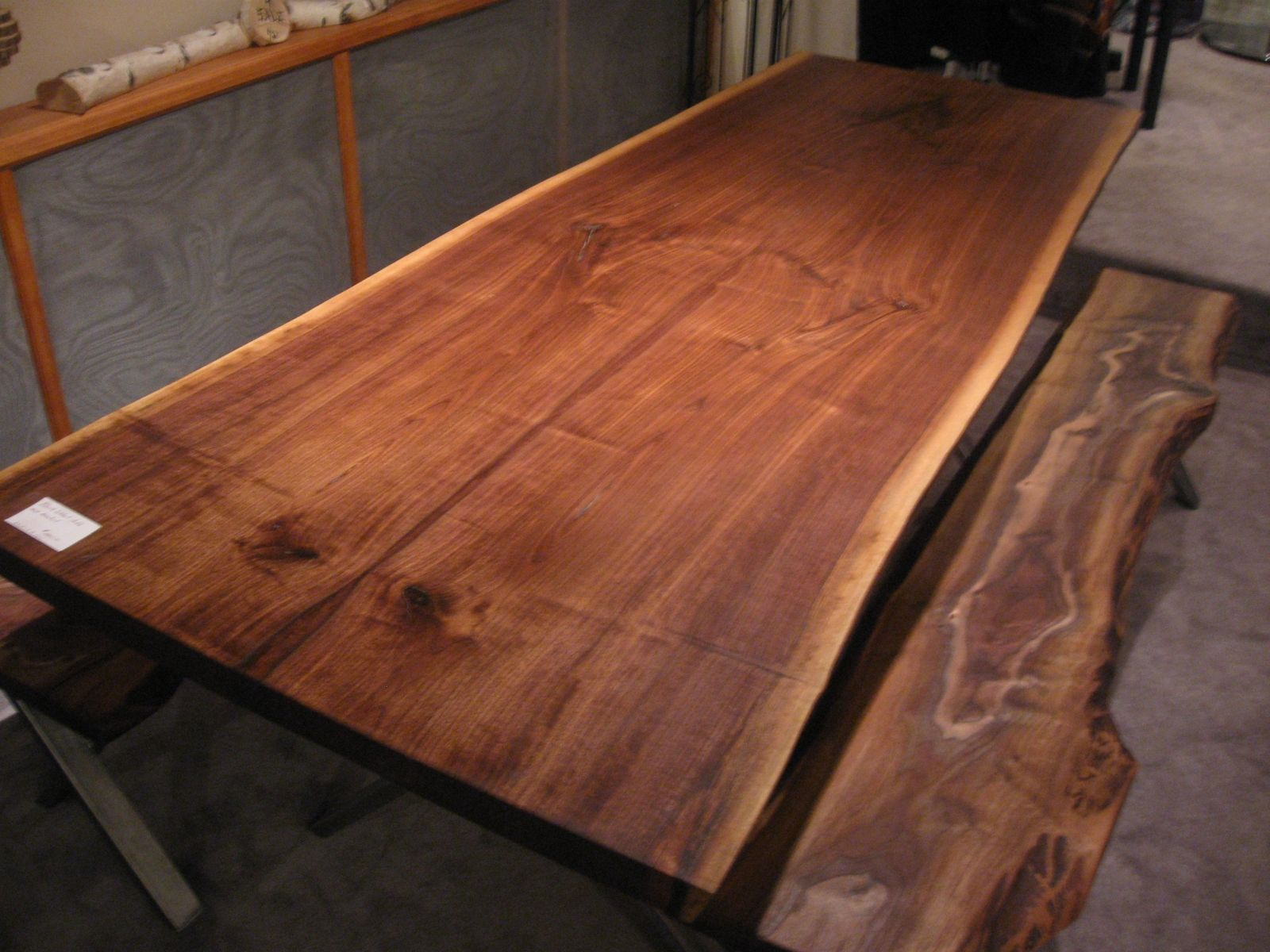 Custom Made Walnut Live Edge Slab X Base Table Dimensions