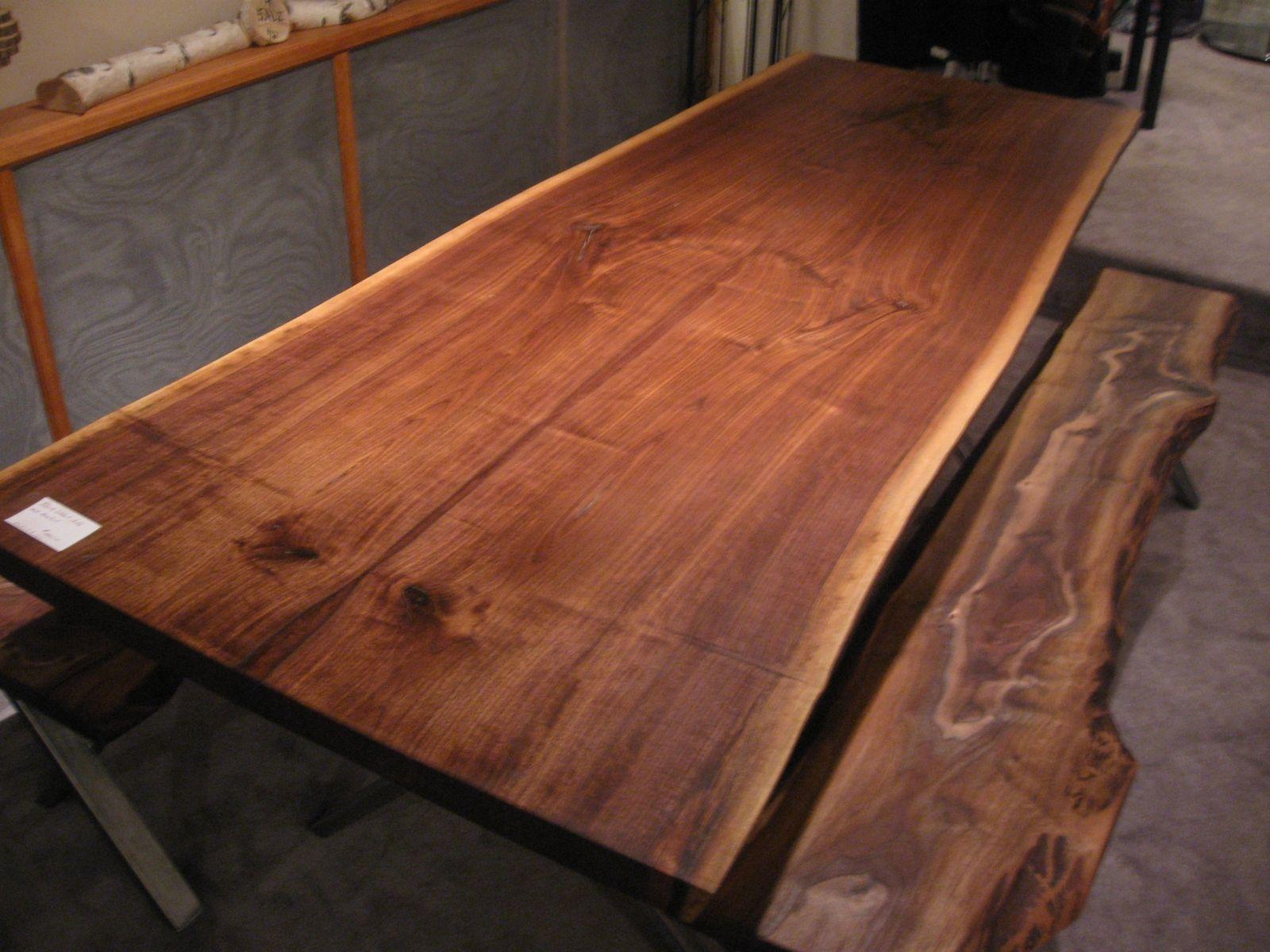 black walnut kitchen table cabinets orlando custom made live edge slab x base dimensions