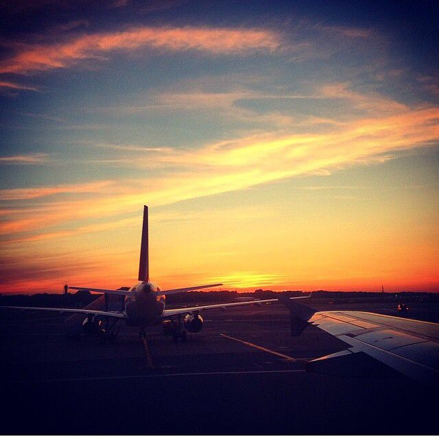 Happy Friday, and thanks to @micollard for this beautiful sunset shot at #Hamburg. Will you be flying with us this weekend?