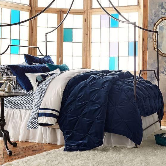 Velvet Pintuck Quilt Sham Bedding Bedrooms Ruffle