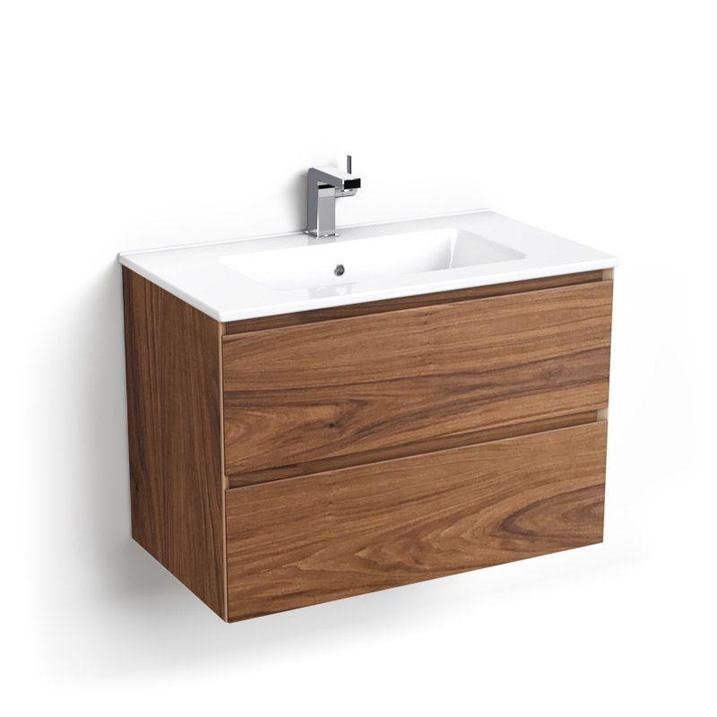 Cordoue, Meuble salle de bain bois noyer 81 cm, vasque céramique