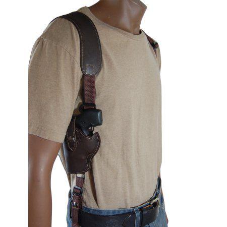 Barsony Left Hand Draw Vertical Brown Leather Shoulder Gun Holster